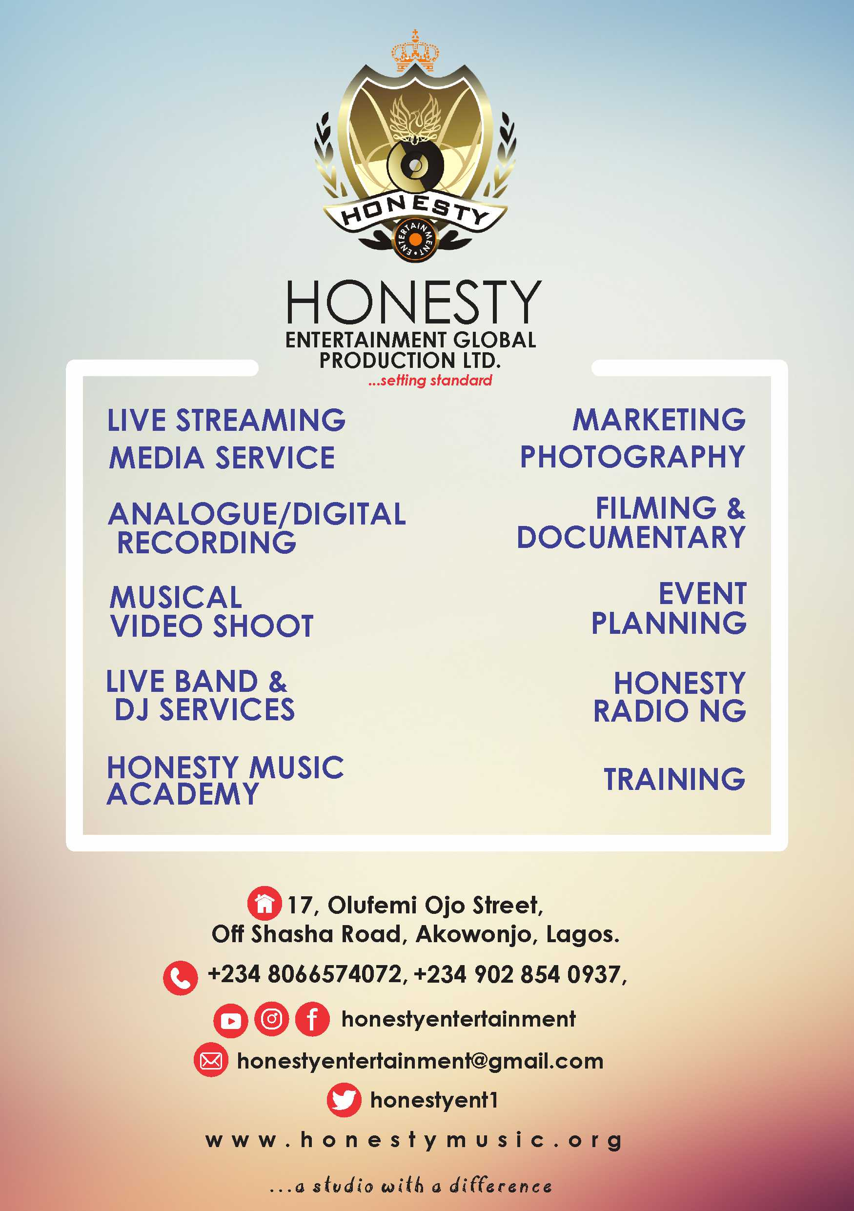 Honesty Music Entertainment, a gospel company in Lagos Nigeria